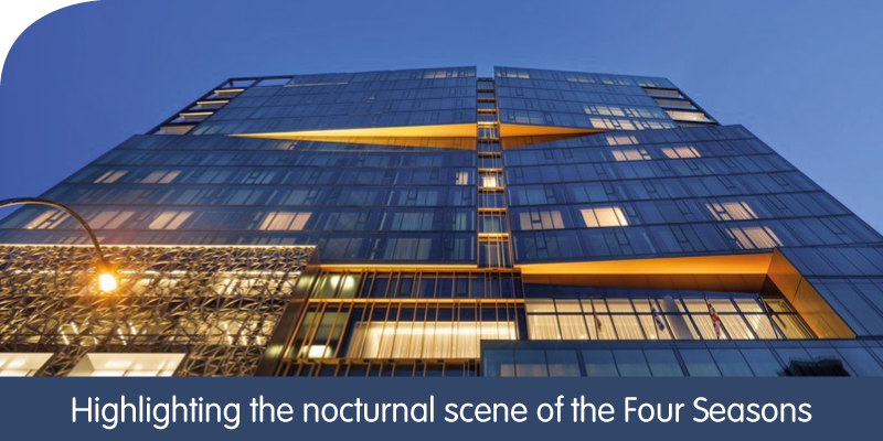 Highlighting the nocturnal scene of the Four Seasons Hotel in Montreal, Quebec